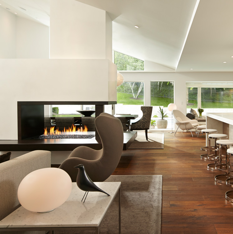 Indoor modern design fireplace